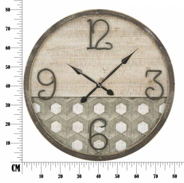 Ceas decorativ Denver, 80x80x3.5 cm, metal/ mdf, maro