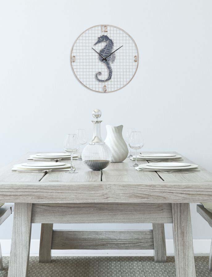 Ceas decorativ Marino, 55,5x55,5x4 cm, metal, alb/ albastru