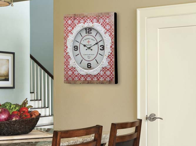 Ceas decorativ Shiny, 58x42x7.5 cm, mdf/ sticla, rosu/ alb