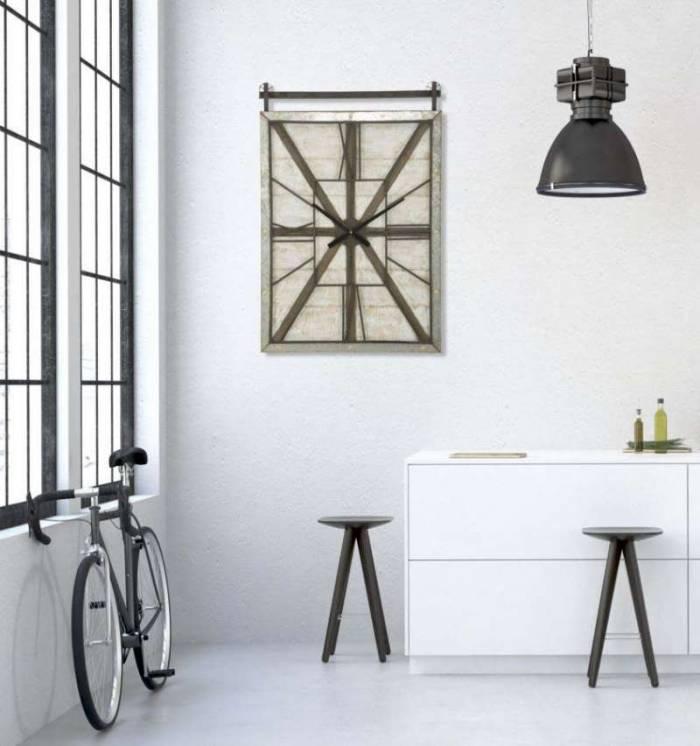 Ceas decorativ West, 89x60x4 cm, lemn de brad/ mdf/ metal, maro/ negru