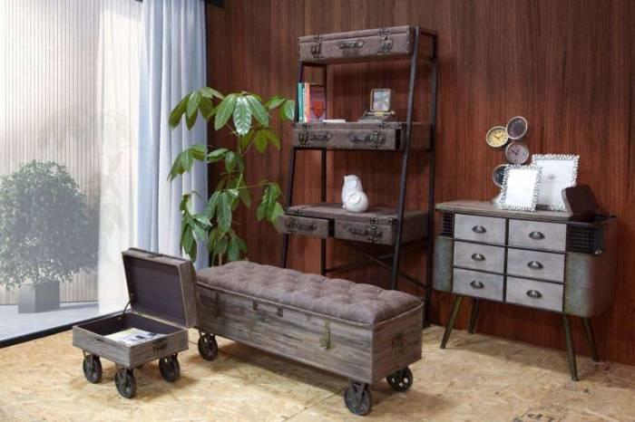 Comodă Brice, 81x89x40 cm, lemn de brad/ metal, maro/ bronz