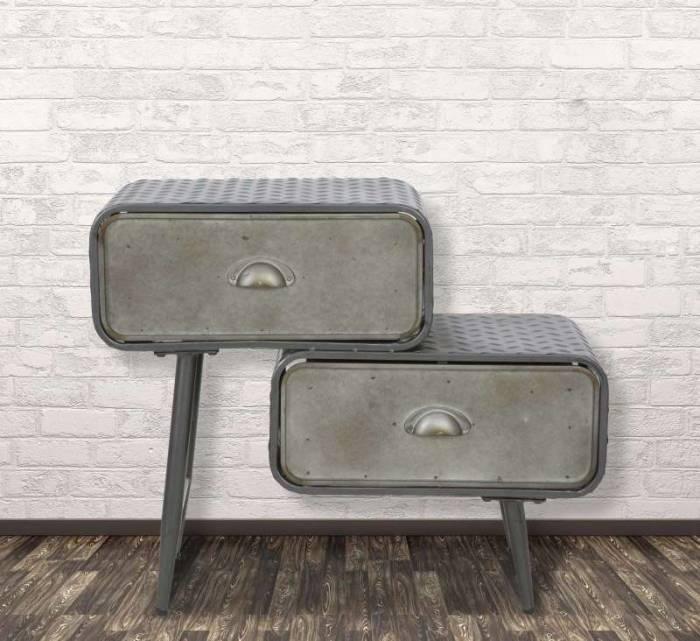 Comodă cu 2 sertare Booker, 52.5x63x29.5 cm, metal, gri