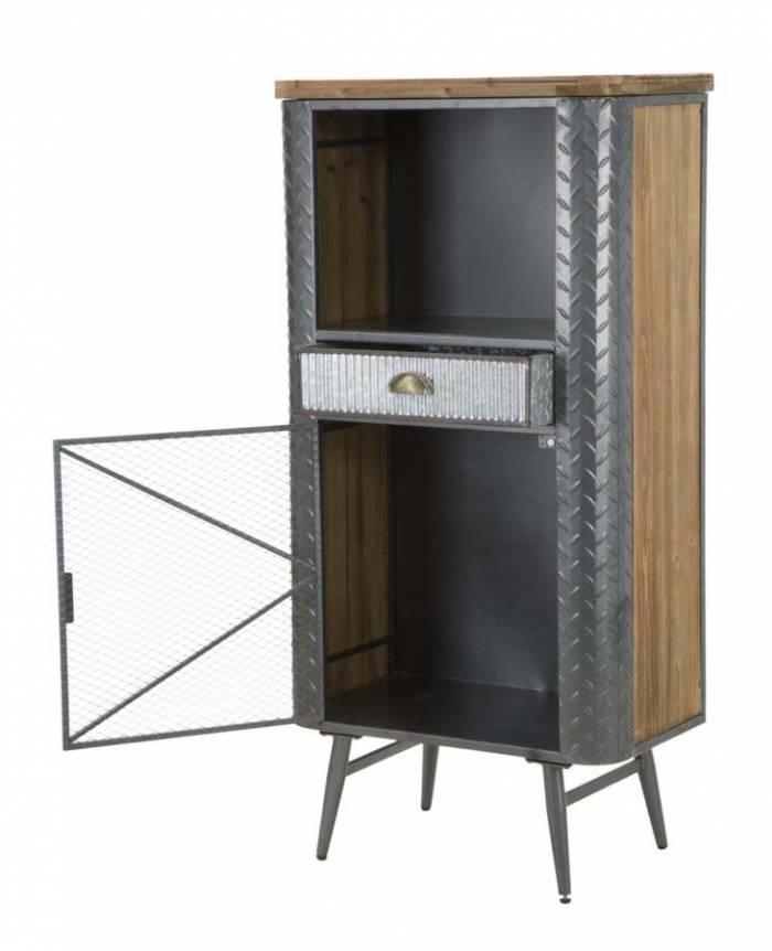 Comodă înaltă Lewis, 123.5x60.5x35.5 cm, metal/ lemn de brad, negru/ gri/ argintiu/ maro