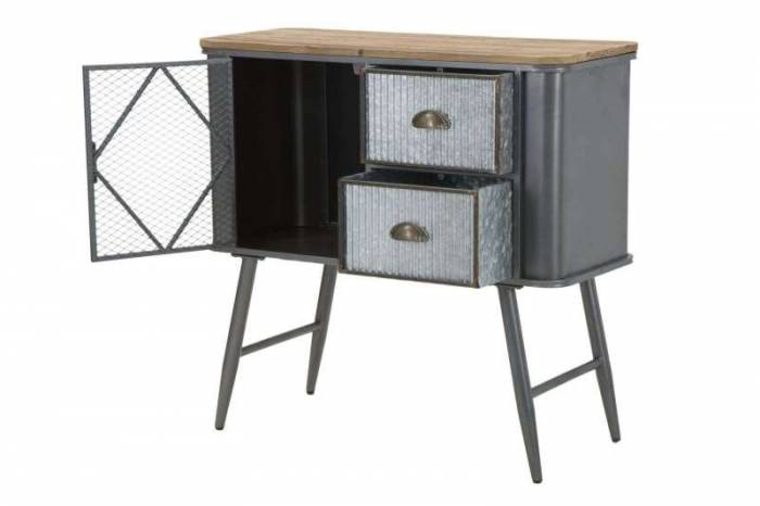 Comodă Lewis, 77x80x35 cm, metal/ lemn de brad, negru/ gri/ argintiu/ maro