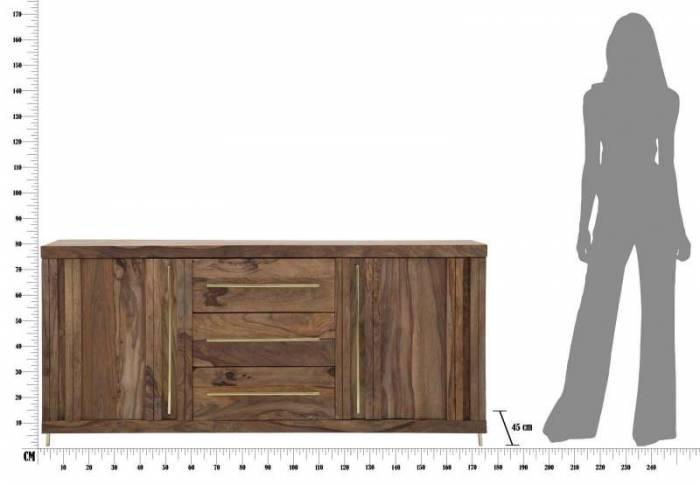 Comodă TV Madge, 80x175x45 cm, lemn de sheesham/ metal, auriu/ maro