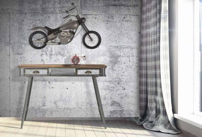Consolă 2 sertare Lewis, 76x111x40 cm, metal/ lemn de brad, negru/ gri/ maro