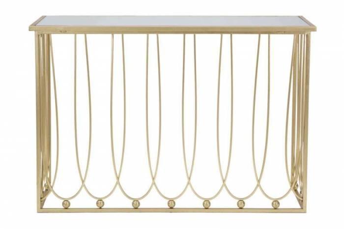 Consolă Amelia, 80x120x43 cm, metal/ sticla, auriu
