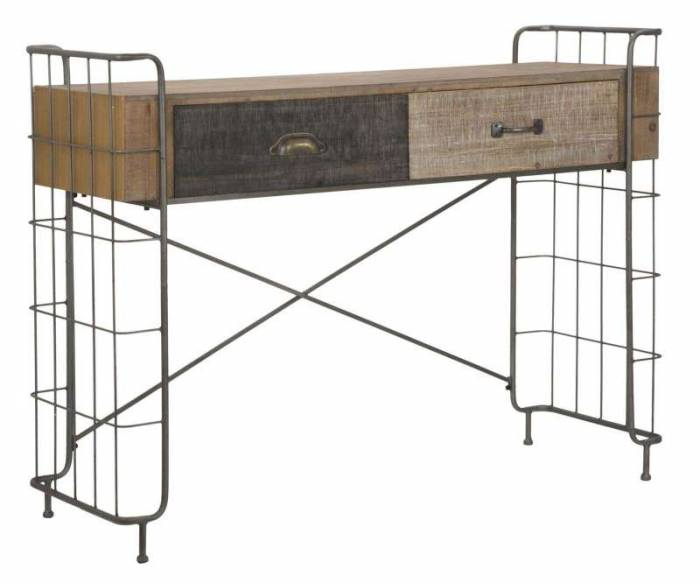 Consolă Branda, 92x122x43.5 cm, lemn de brad/ mdf, maro