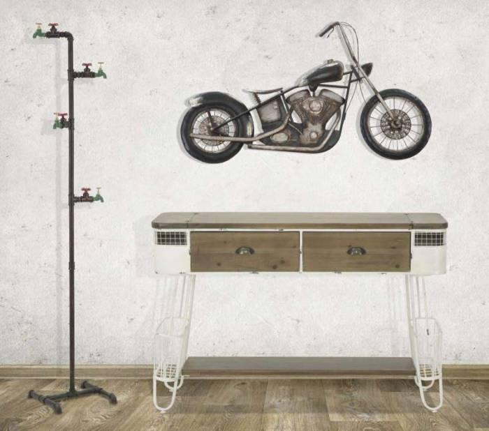Consolă Briann, 80x120x40 cm, lemn de brad/ metal, alb/ maro