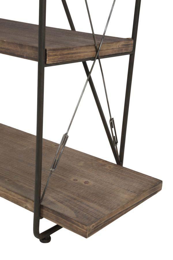 Etajeră Blythe, 185.5x119.5x41 cm, lemn de brad/ mdf/ metal, maro/ negru