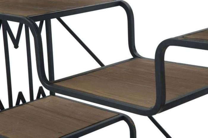 Etajeră Lucio, 141x122x38 cm, metal/ lemn de brad, negru/ maro