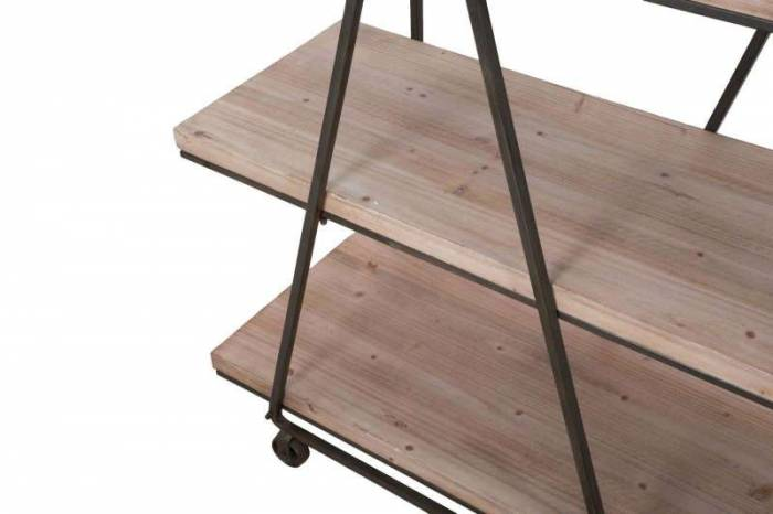 Etajeră Troy, 187x119.5x44 cm, lemn de brad/ mdf, maro/ gri