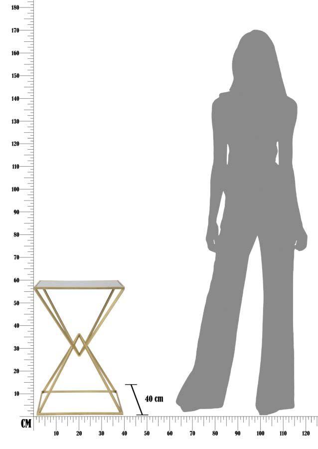 Masă de bar Piramide, 105x60x60 cm, metal/ sticla, auriu/ negru