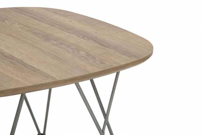 Masă de cafea Alegra, 45x60x60 cm, metal/ mdf, maro/ gri