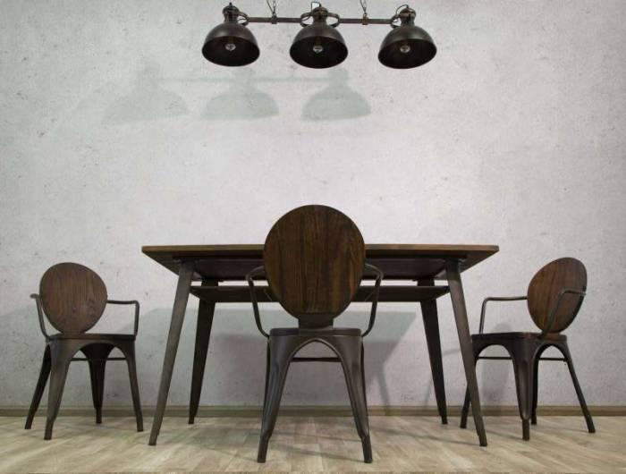 Masă de dining Jeremy, 75x140x80 cm, metal/ lemn de pin, maro/ negru/ gri