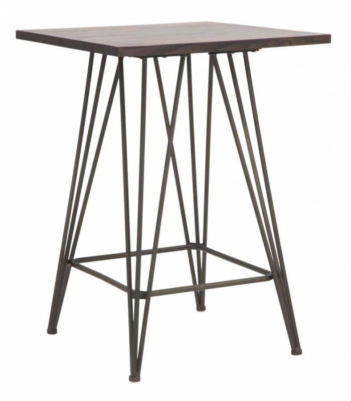 Masă de dining Jeremy, 85x60x60 cm, metal/ lemn de ulm, maro/ negru/ gri