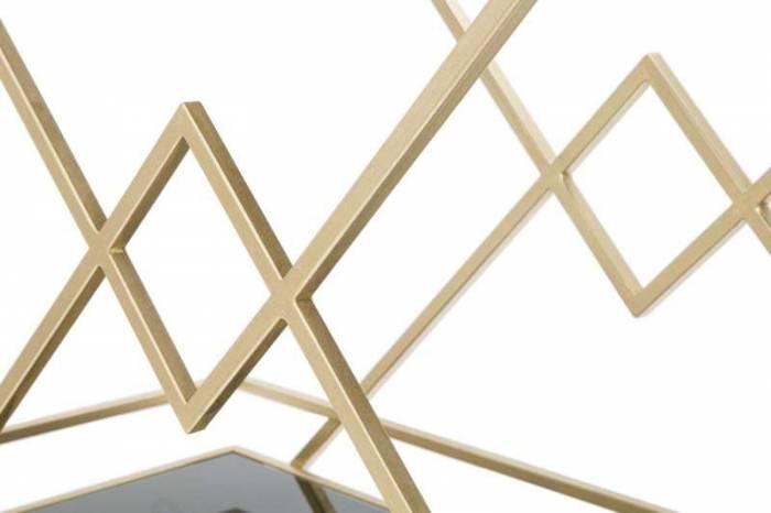 Masă mobilă Jessica, 80x90x40 cm, metal/ mdf/ sticla, auriu/ negru