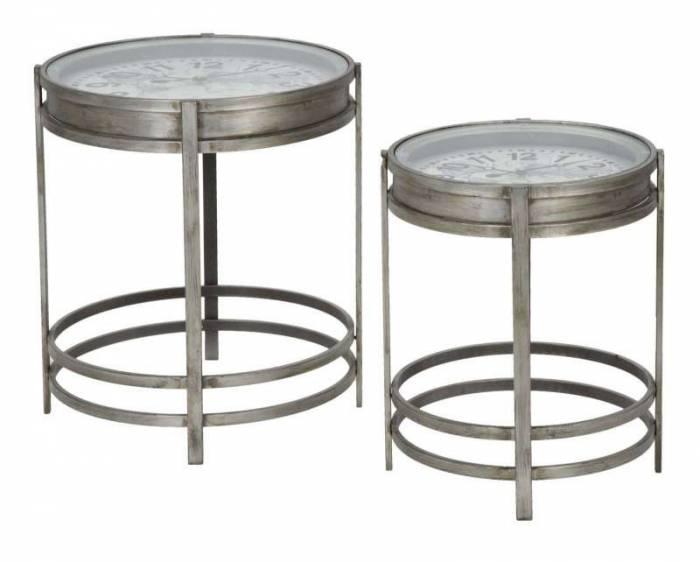 Măsuțe de cafea Bob, metal/ sticla, argintiu
