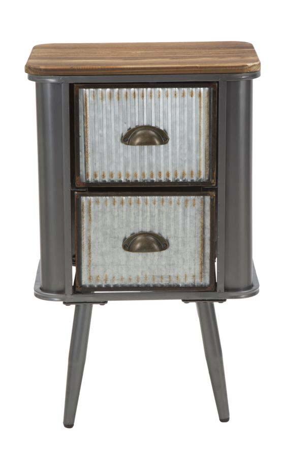 Noptieră 2 sertare Lewis, 64x40x30 cm, metal/ lemn de brad, negru/ gri/ maro
