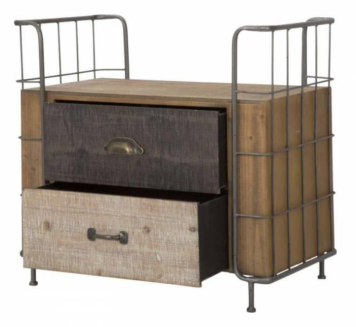 Noptieră Branda, 67x71.5x43.5 cm, lemn de brad/ mdf, maro