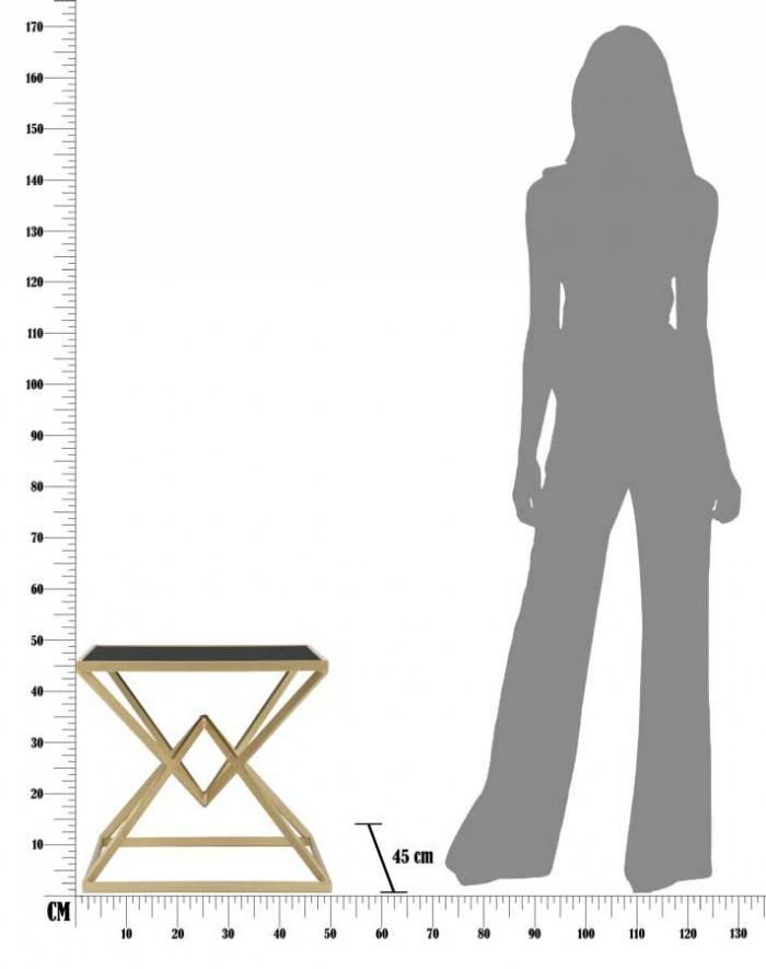 Noptieră Jessica, 45x50x50 cm, metal/ sticla, negru/ auriu