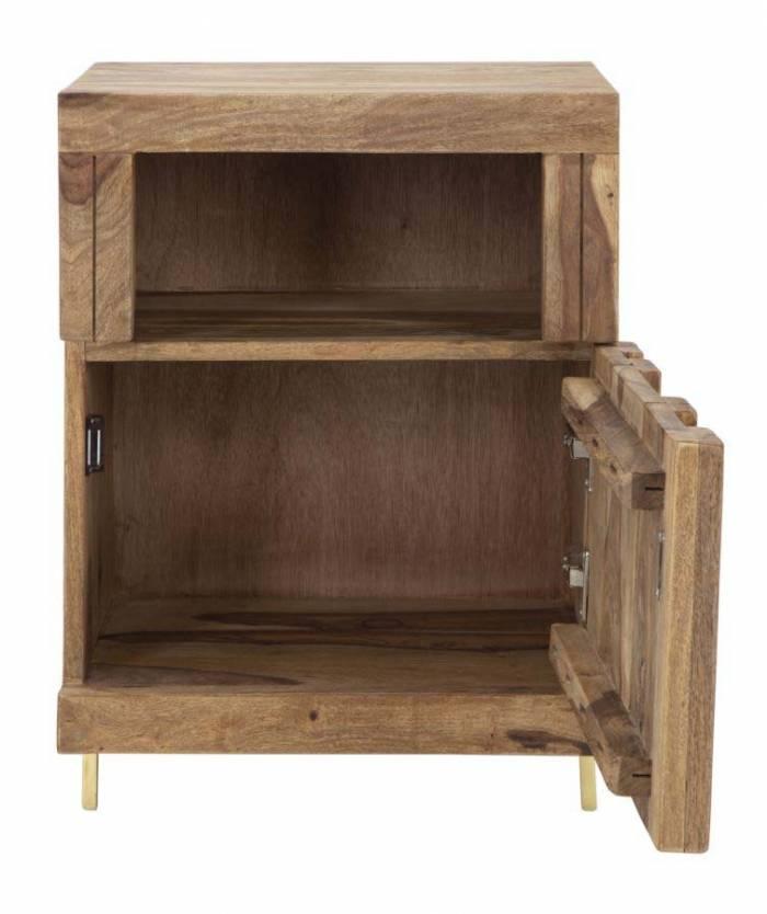 Noptieră Madge, 60.5x45x35 cm, lemn de sheesham/ metal, auriu/ maro
