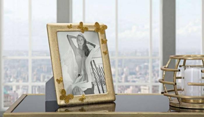 Ramă foto Glady, 24,5x19,5x2,5 cm, polirasina/ sticla, auriu