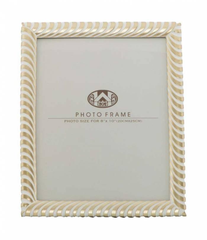Ramă foto Melba, 29x24,5x1,5 cm, polirasina/ sticla, auriu/ alb
