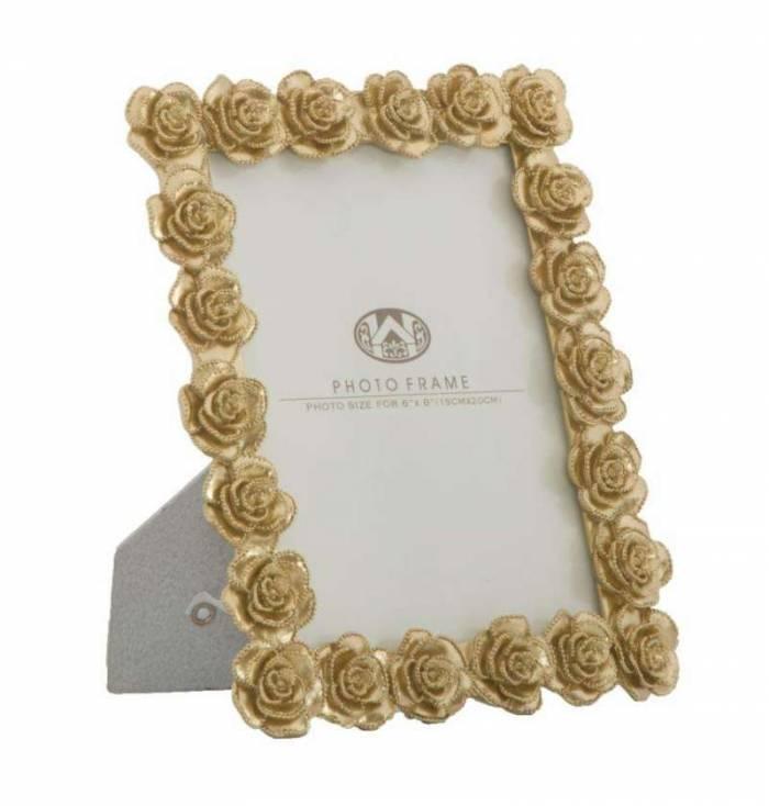 Ramă foto Roses, 25,5x21x2,5 cm, polirasina/ sticla, auriu