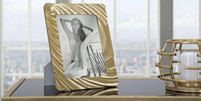 Ramă foto Spiral, 26x21x2 cm, polirasina/ sticla, auriu