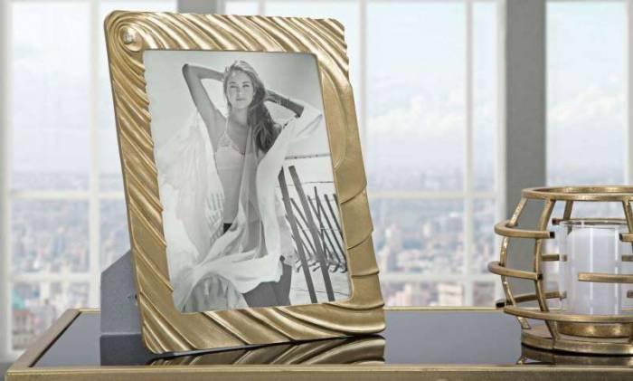 Ramă foto Spiral, 31,5x26x2 cm, polirasina/ sticla, auriu