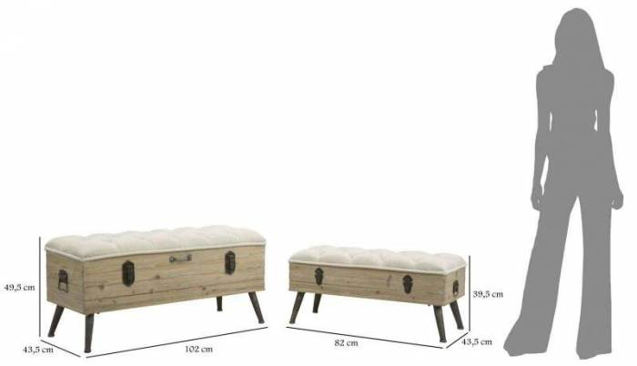 Set 2 banchete Brett, lemn de brad/ metal/ spuma/mdf/ textil, maro