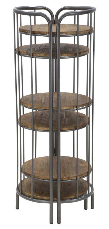 Set 2 etajere Julian, 110x86.5x42.5 cm, metal/ lemn de brad, maro/ negru