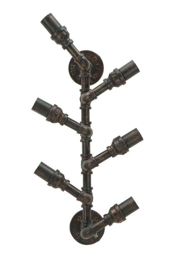 Suport sticle de perete Industrial, 55x27x15 cm, metal, negru/ cupru