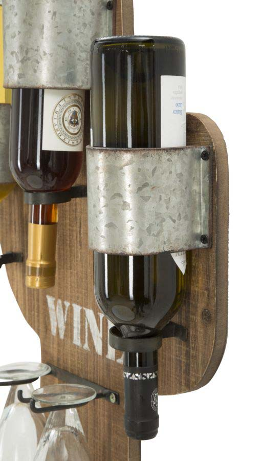 Suport sticle vin Jeremiah, 58x40x9.5 cm, metal/ mdf, maro