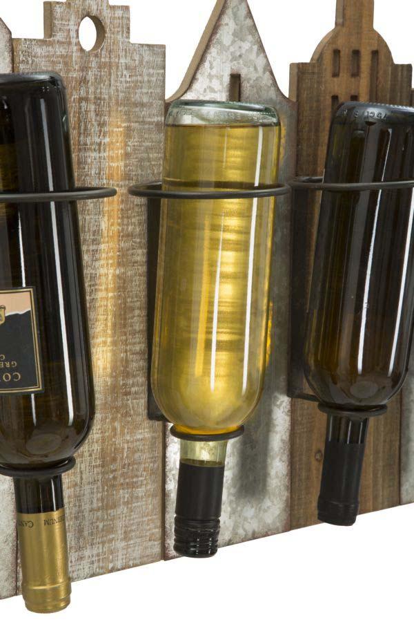 Suport sticle vin Noah, 40x60x12 cm, metal/ mdf, multicolor
