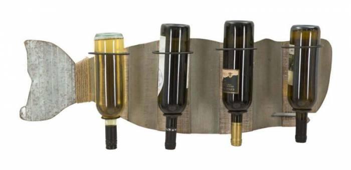 Suport sticle vin Noe, 25x80x12.5 cm, metal/ mdf, maro