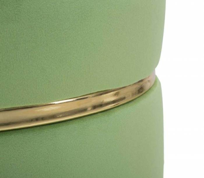Taburet fără spătar Josefa, 40.5x35x35 cm, lemn de pin/ poliester, verde/ auriu