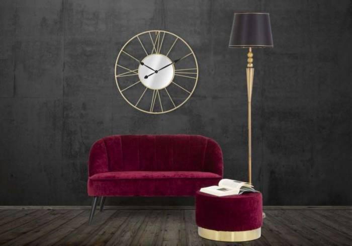 Taburet Jesenia, 35x55x55 cm, catifea/ lemn/ metal/ spuma, bordo/ auriu