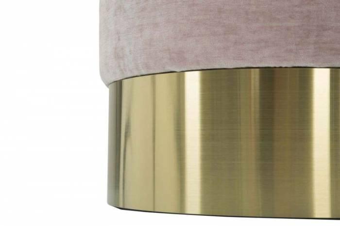 Taburet Jesenia, 42x35x35 cm, catifea/ lemn/ metal/ spuma, roz/ auriu