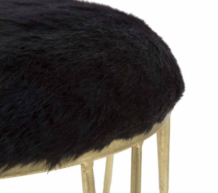 Taburet Jess, 46.5x40.5x40.5 cm, metal/ poliester, negru/ auriu