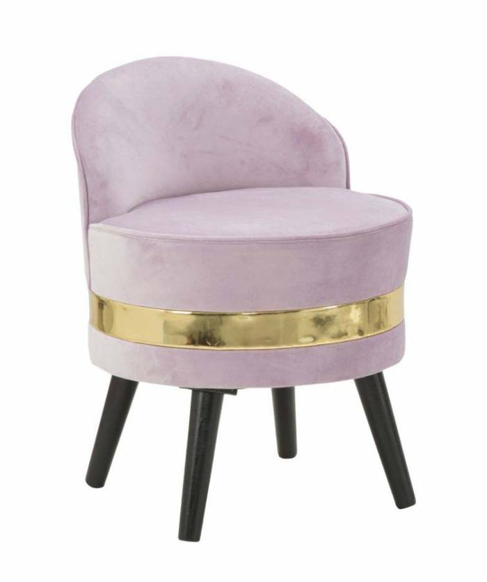 Taburet Josefa, 62x45x45 cm, lemn/ catifea, roz/ auriu/ negru