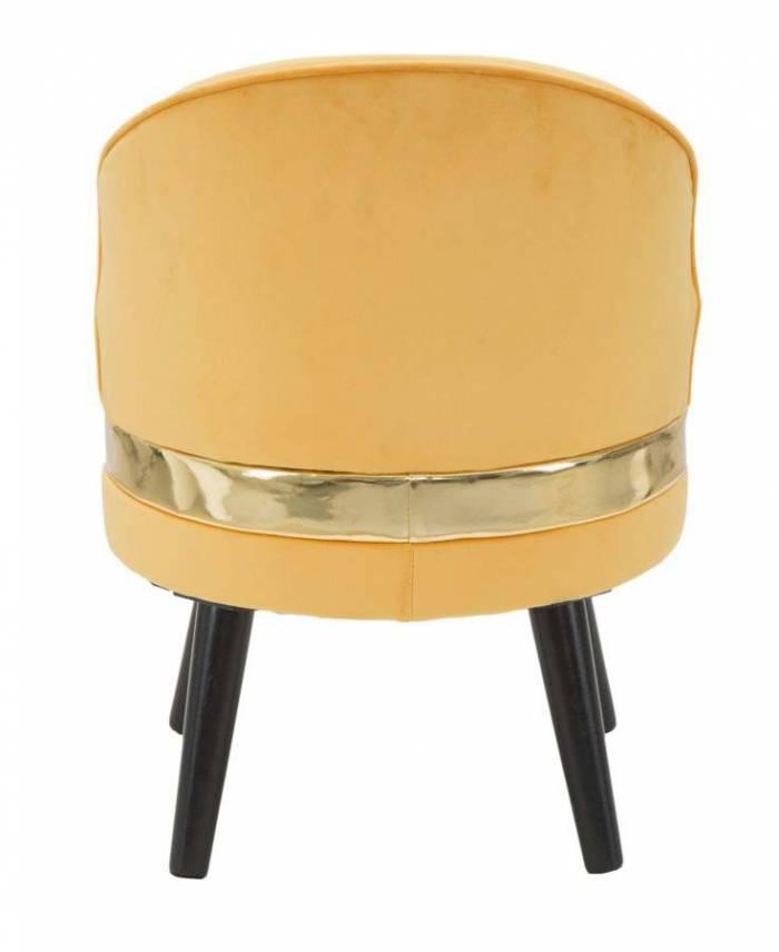 Taburet Josefa, 62x45x45 cm, lemn de pin/ poliester, portocaliu/ auriu/ negru