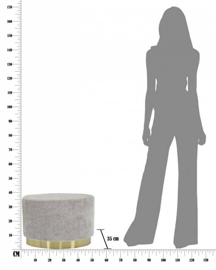 Taburet oval Jesenia, 35x52x35 cm, catifea/ lemn/ metal/ spuma, roz/ auriu