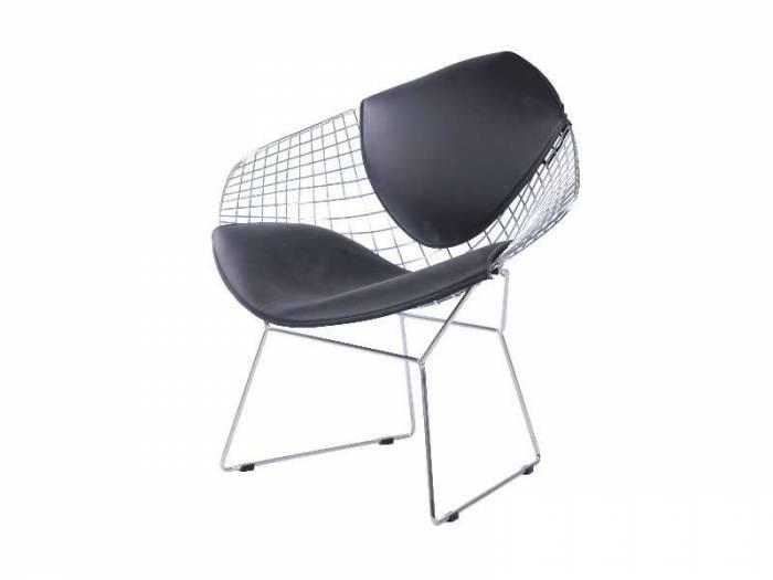Scaun living Newton 82x78x45 cm, metal/ecopiele, argintiu/negru
