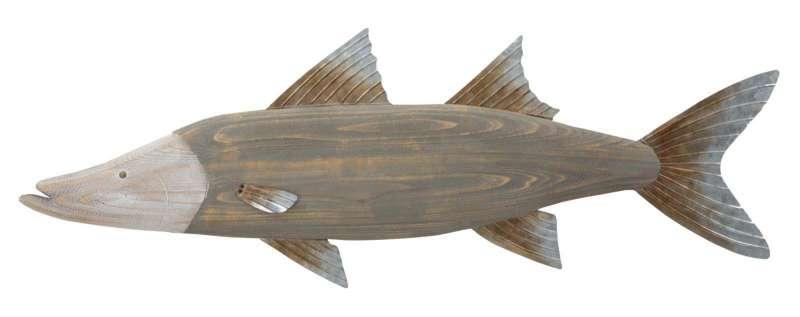 Decorațiune de perete Fish, 33.5x99x2.5 cm, metal/ lemn, multicolor poza