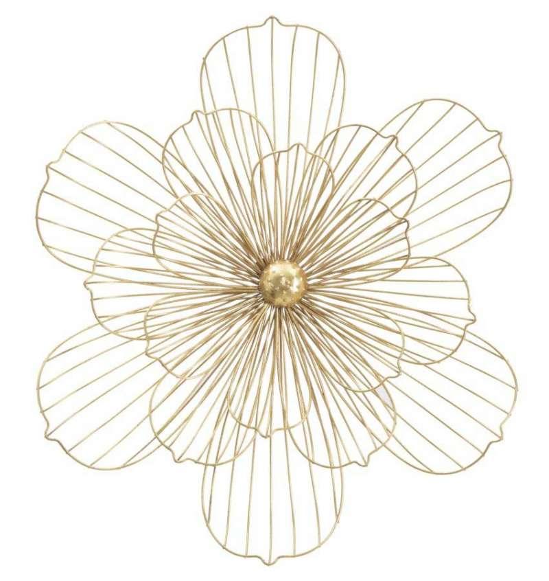 Decorațiune de perete Flower, 54x60x8 cm, metal, auriu poza