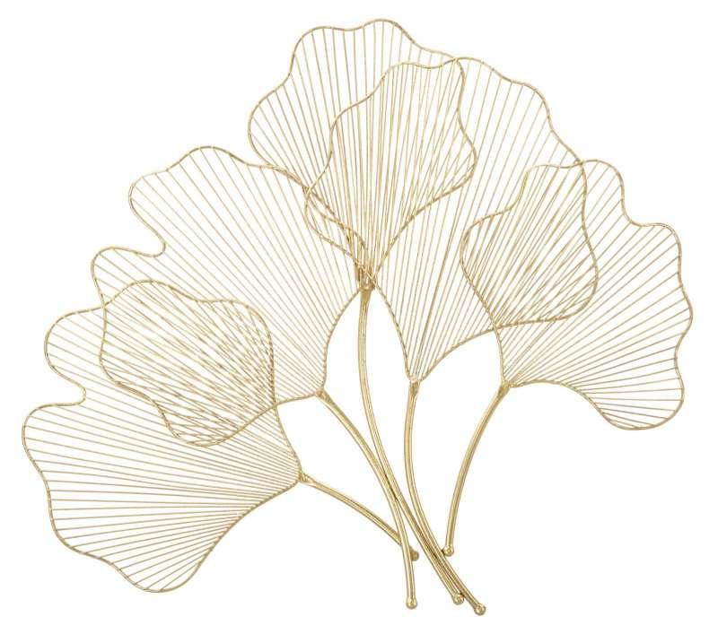 Decorațiune de perete Leaf, 62x69x5 cm, metal, auriu poza