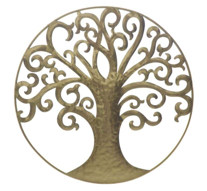 Decorațiune Life Tree, 70x70x18 cm, metal, auriu poza