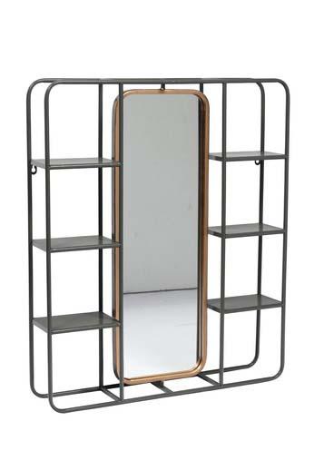 Oglindă de perete cu polițe, 74,5x62,5x12 cm, metal/ sticla, negru poza
